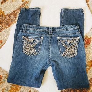 a.n.a Embellished Jeans Straight Leg Size 14